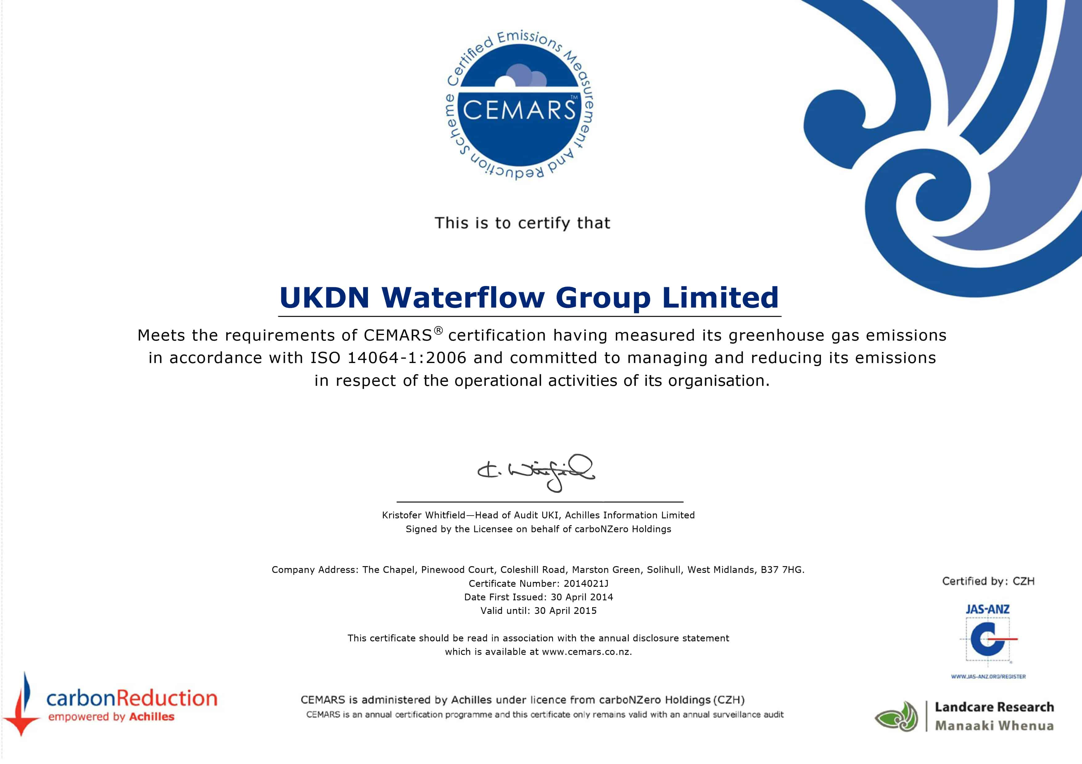 Cemars accreditation demonstrates carbon leadership ukdn waterflow cemars accreditation ukdn waterflow achilles cemars certificate template xflitez Image collections