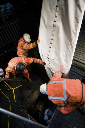 Rail drainage lining works