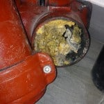 Plumbing trap blocked by fats, oil and grease