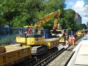 People working on a railway