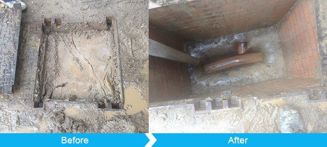 Flooded and blocked manhole before and after maintenance